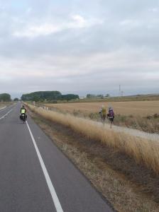 Naast rustige weg een kaarsrechte camino gemaakt van Fromista naar Carrion. 18 km.